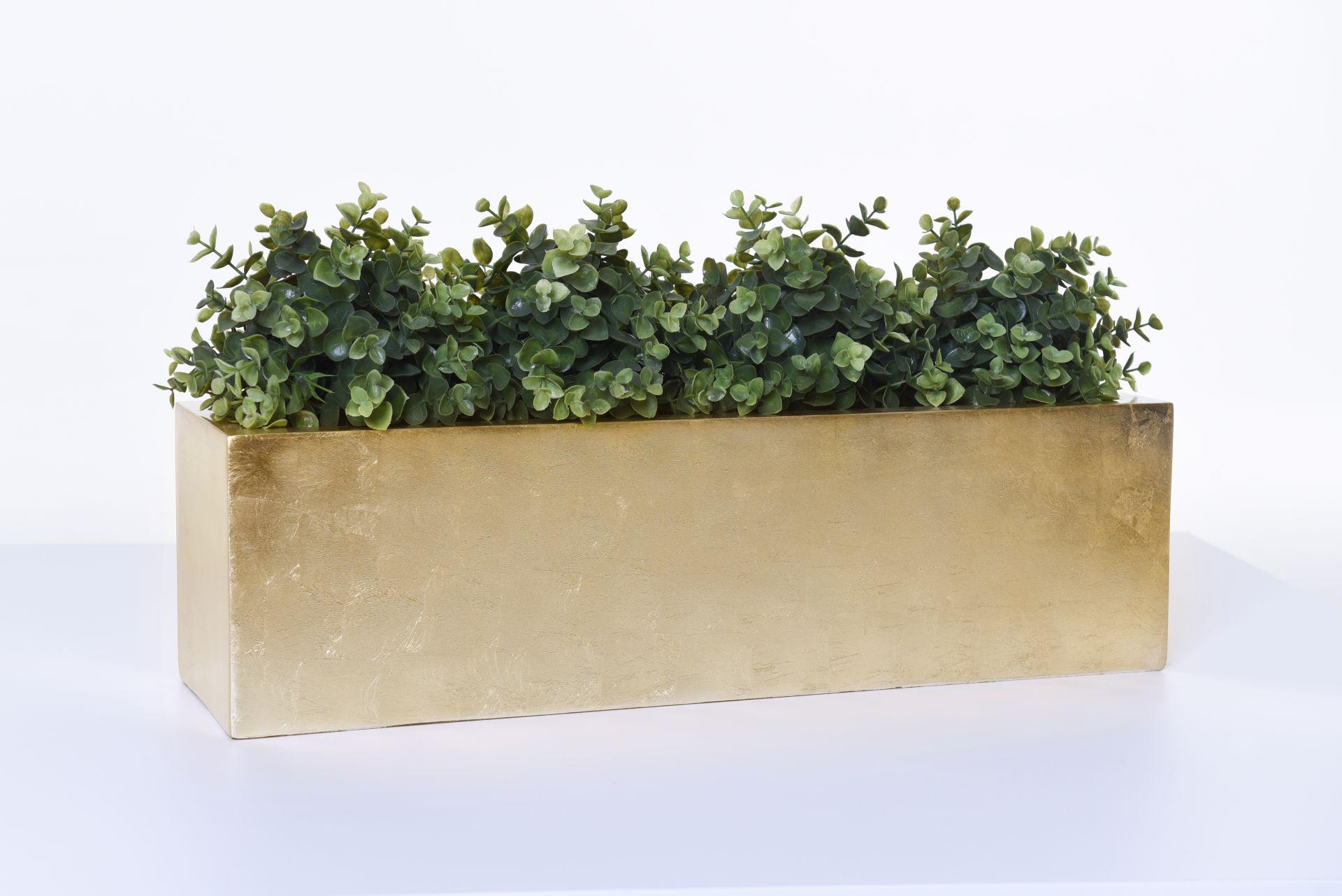 "Blumenkasten Pflanzkasten Pflanzkübel Fiberglas /""Flobo/"" 60 cm Gold Hochglanz"