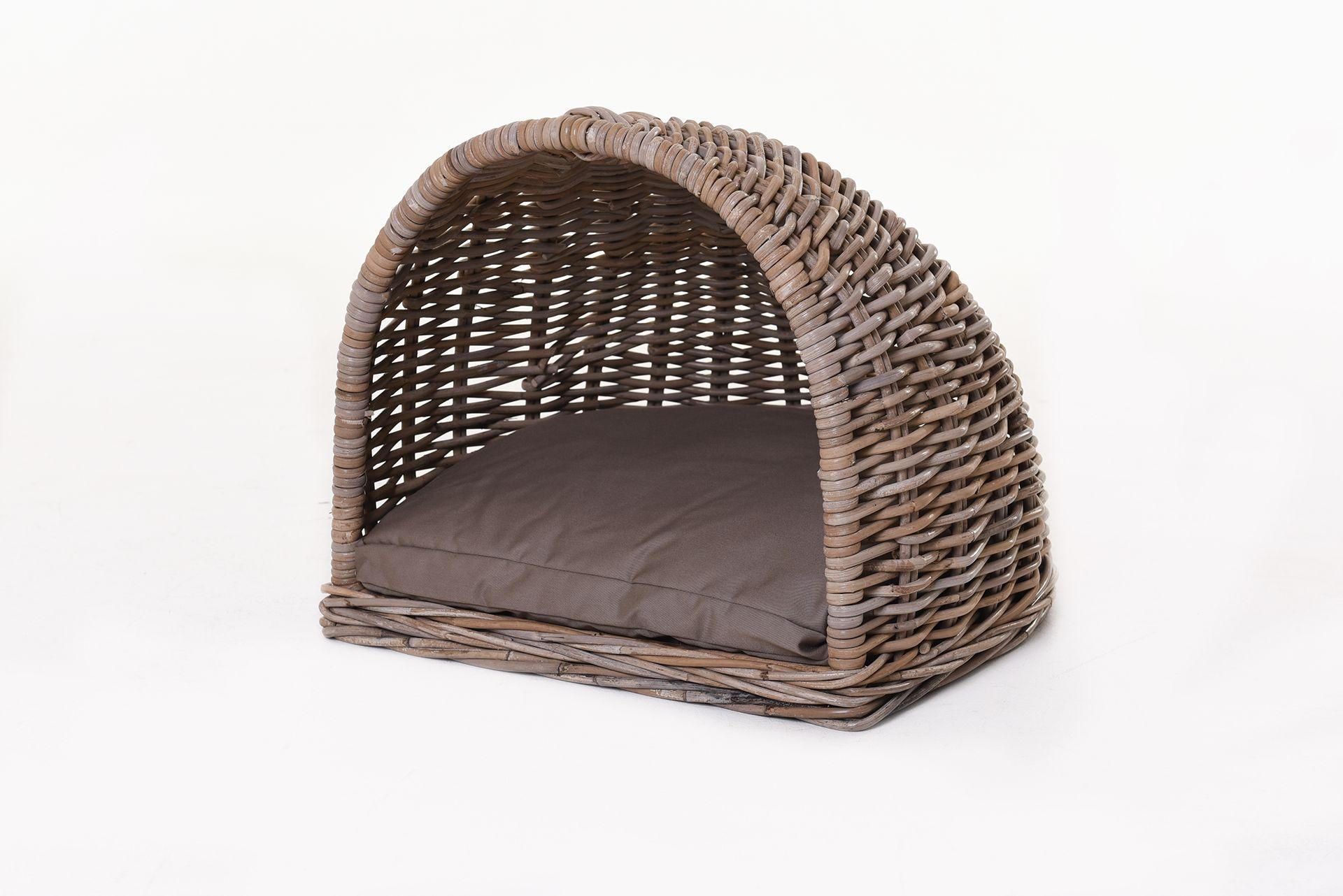 hundekorb katzenkorb halbrund mit kissen jappo rattan koobo grey ebay. Black Bedroom Furniture Sets. Home Design Ideas