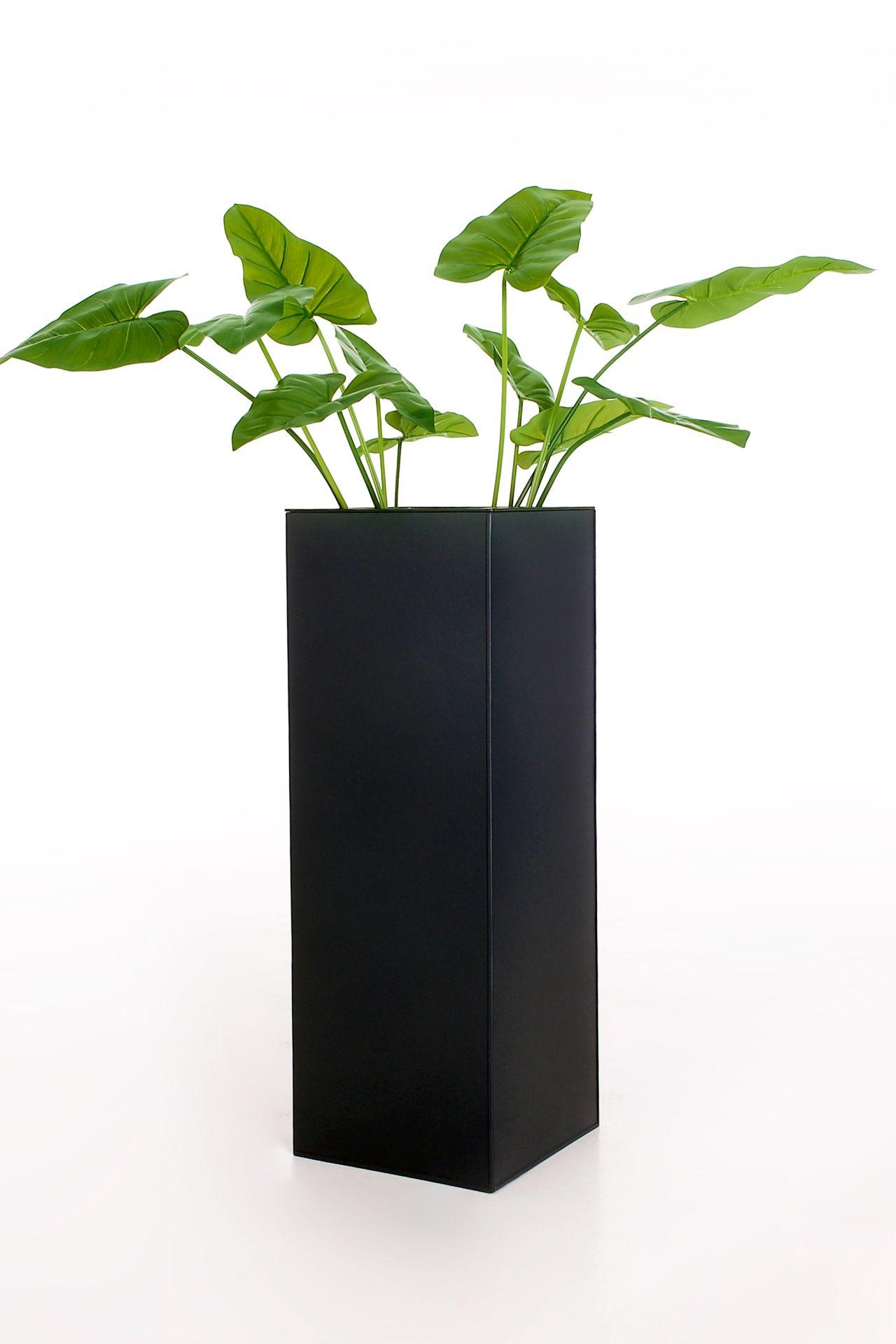 """Bewässerungssystem inkl Anthrazit Zink Blumenkübel Pflanzkübel /""""Block/"""" 80 cm"""