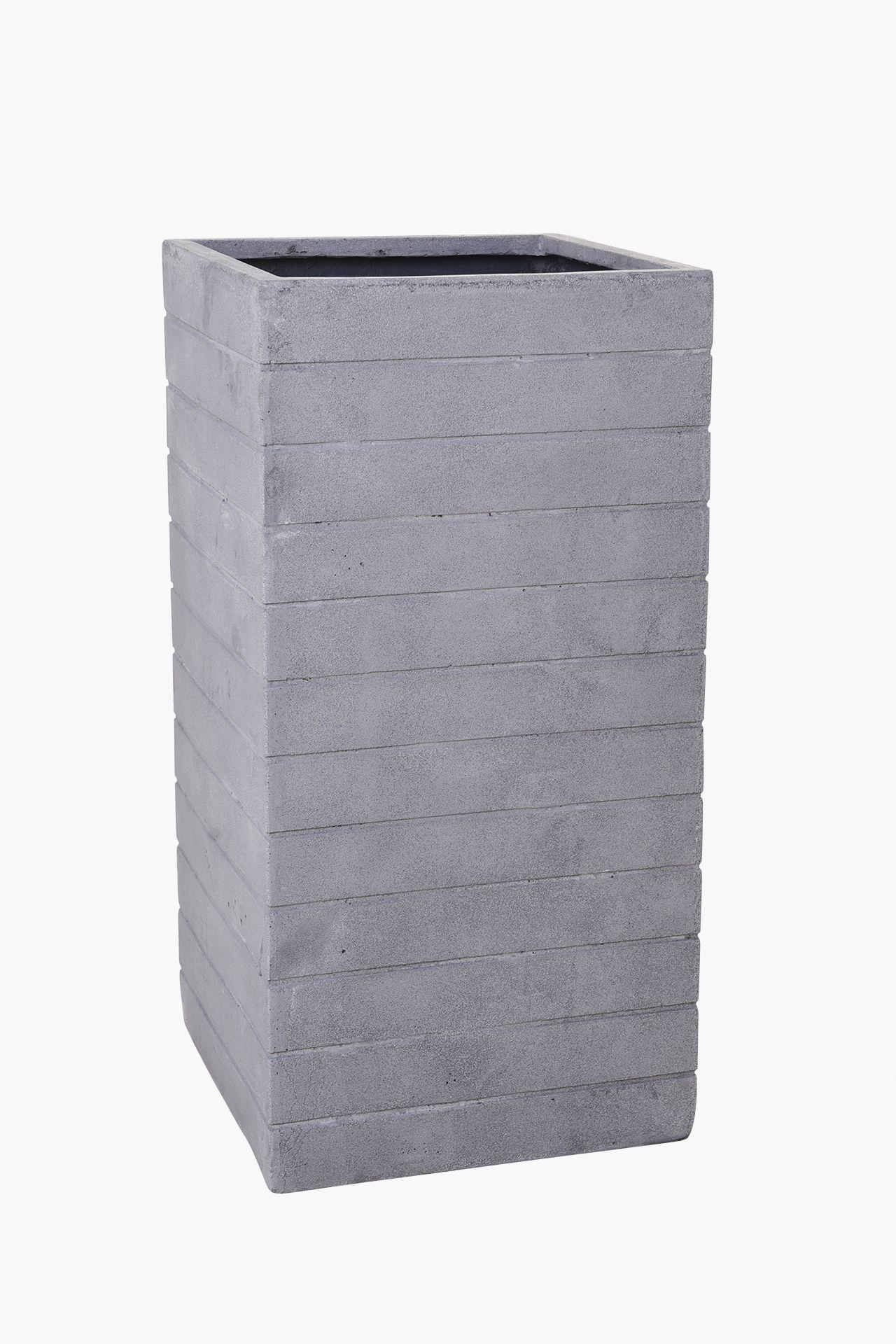 pflanzk bel blumenk bel fiberglas mit rillen block 80 cm sandstein grau ebay. Black Bedroom Furniture Sets. Home Design Ideas