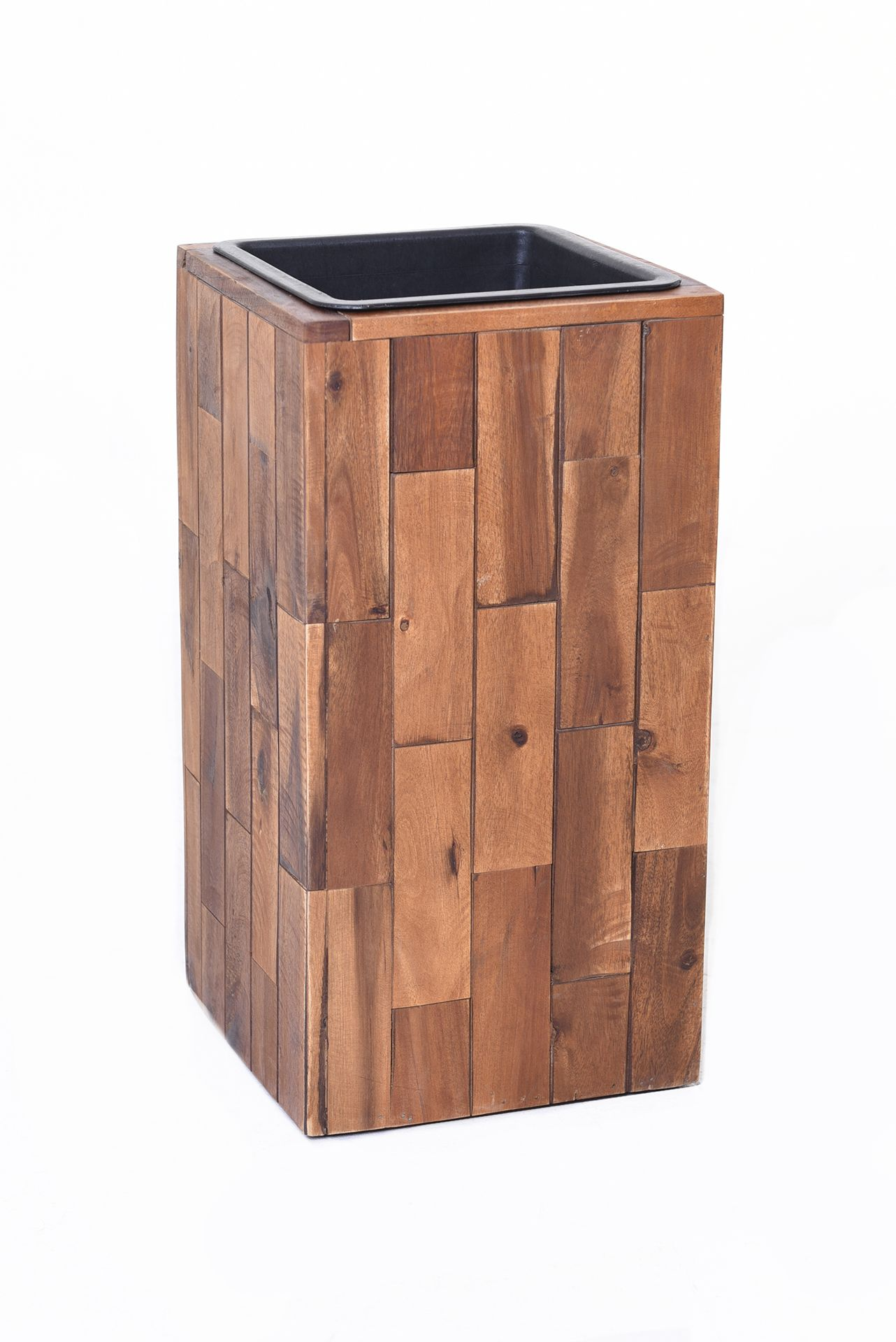 pflanzk bel blumenk bel block s ule aus holz akazie 45 cm hoch braun ebay. Black Bedroom Furniture Sets. Home Design Ideas