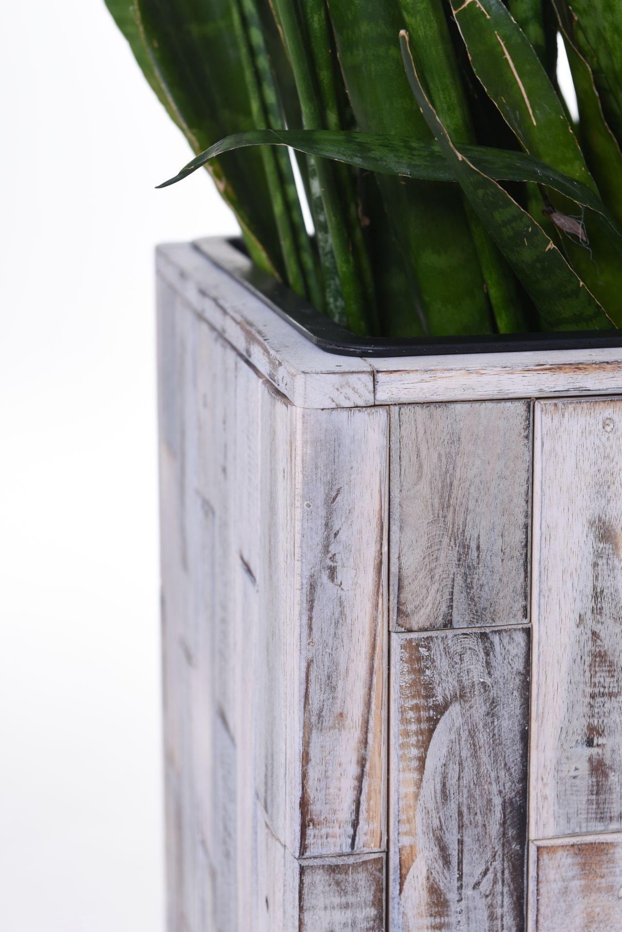 pflanzk bel blumenk bel pflanzs ule aus holz block shabby chic wei 74 cm hoch ebay. Black Bedroom Furniture Sets. Home Design Ideas