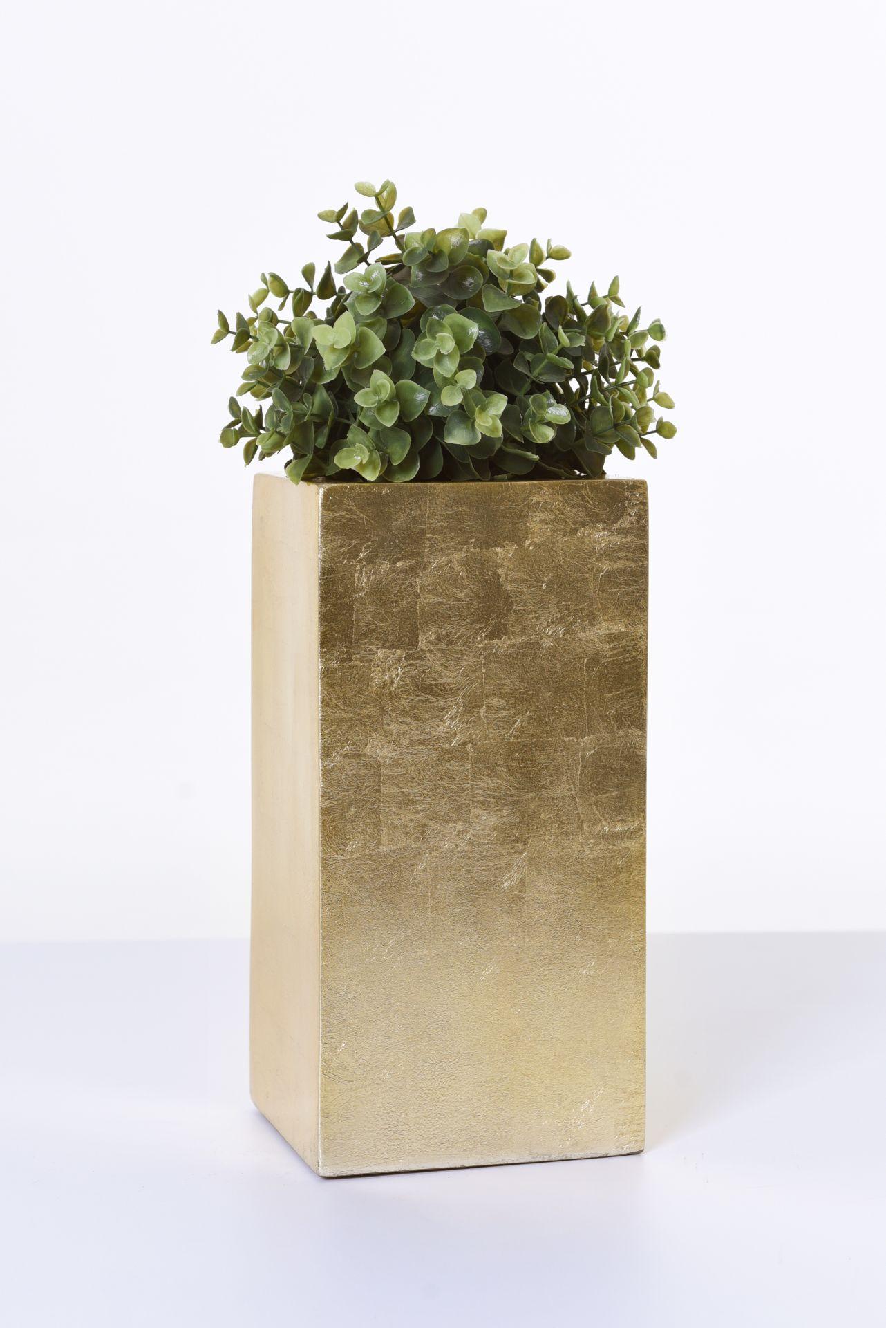pflanzk bel blumenk bel blumentopf fiberglas block 30 cm gold hochglanz ebay. Black Bedroom Furniture Sets. Home Design Ideas