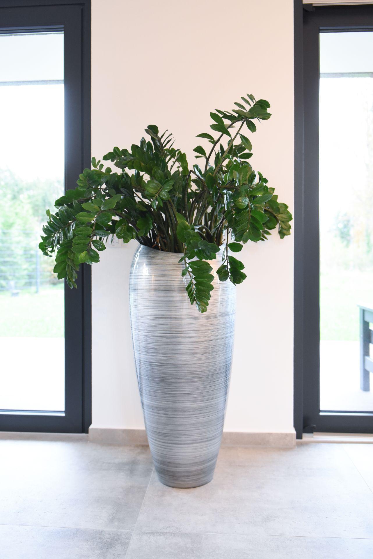 pflanzk bel pflanzgef exklusiv deluxe 100 cm hoch silber schwarz hochglanz ebay. Black Bedroom Furniture Sets. Home Design Ideas