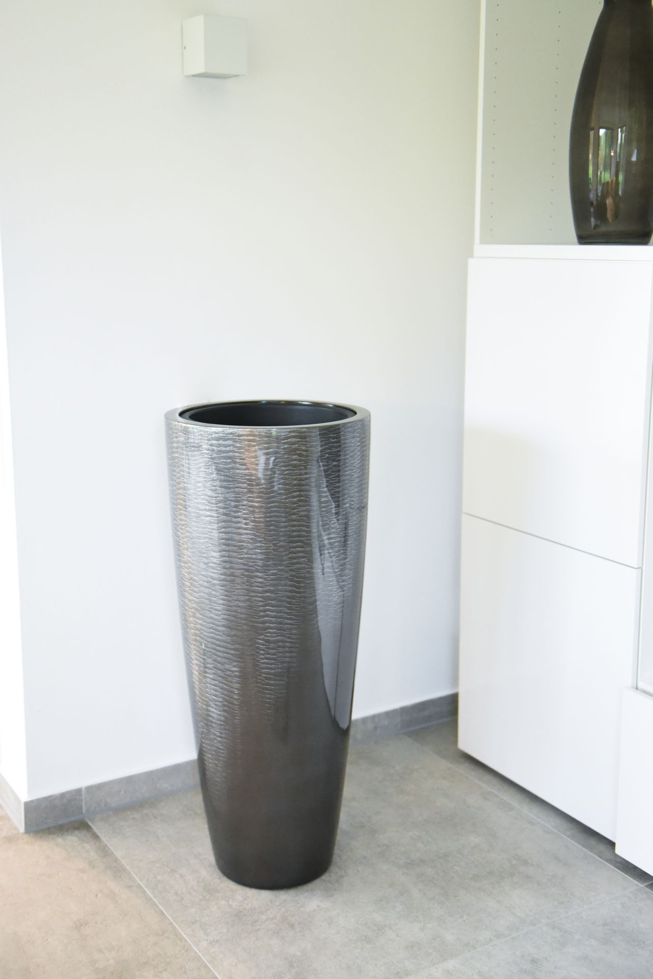 plant pot planter floor vase snake effect metro 100 cm silver high gloss ebay. Black Bedroom Furniture Sets. Home Design Ideas