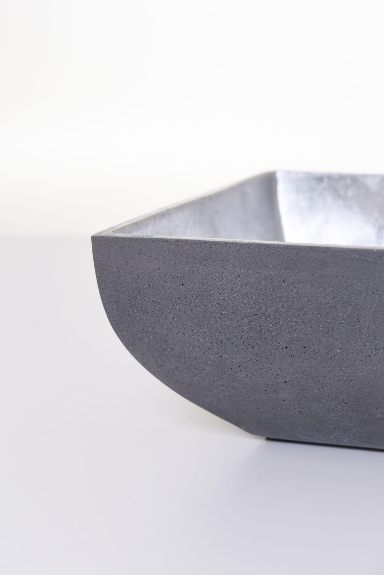 """Anthrazit Silber Pflanzschale Dekoschale Schale Sandstein /""""Aglaia/"""" 11x38x24 cm"""