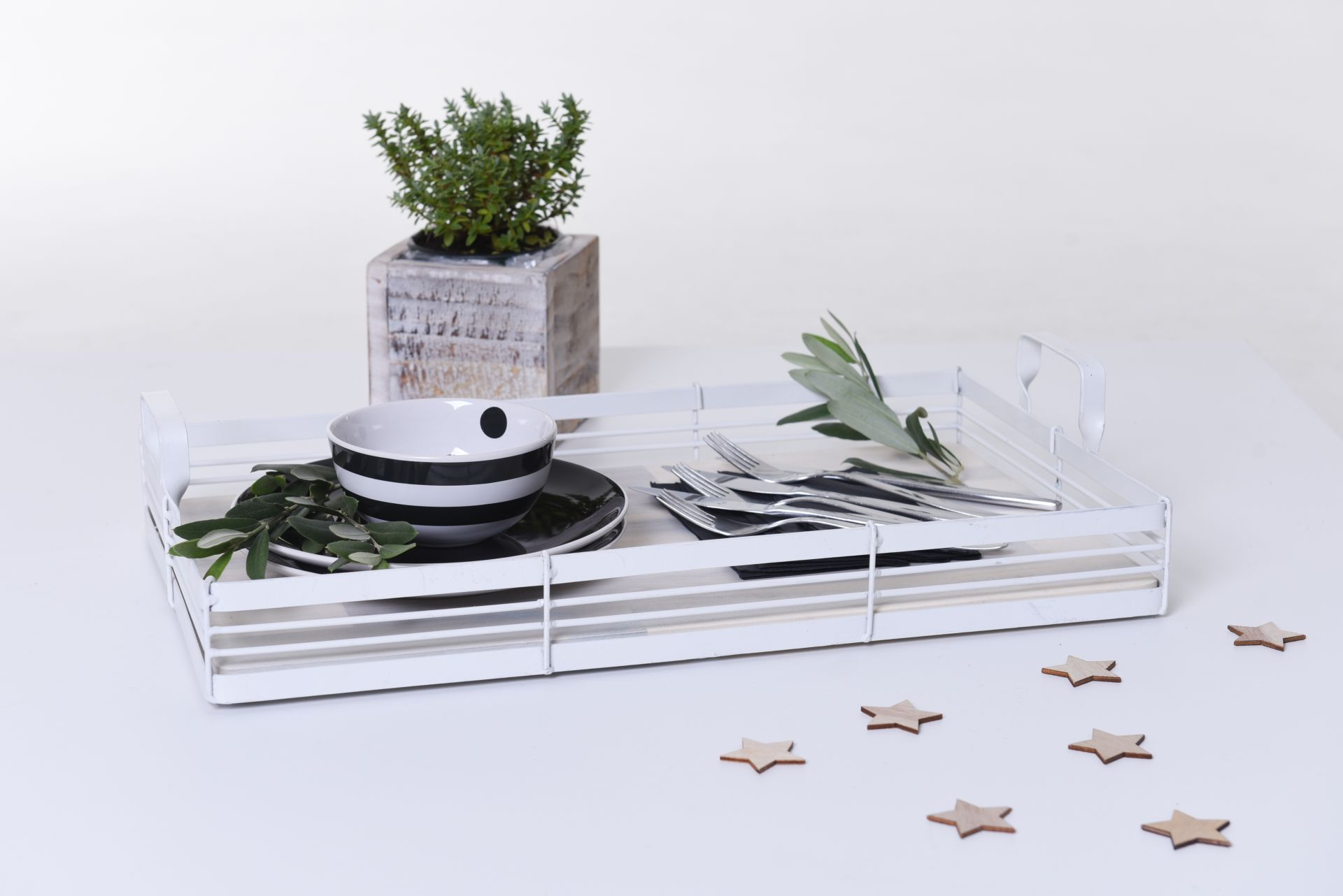 tray serving tray wooden tray servire shabby chic white 6 x 50 x 30 cm ebay. Black Bedroom Furniture Sets. Home Design Ideas