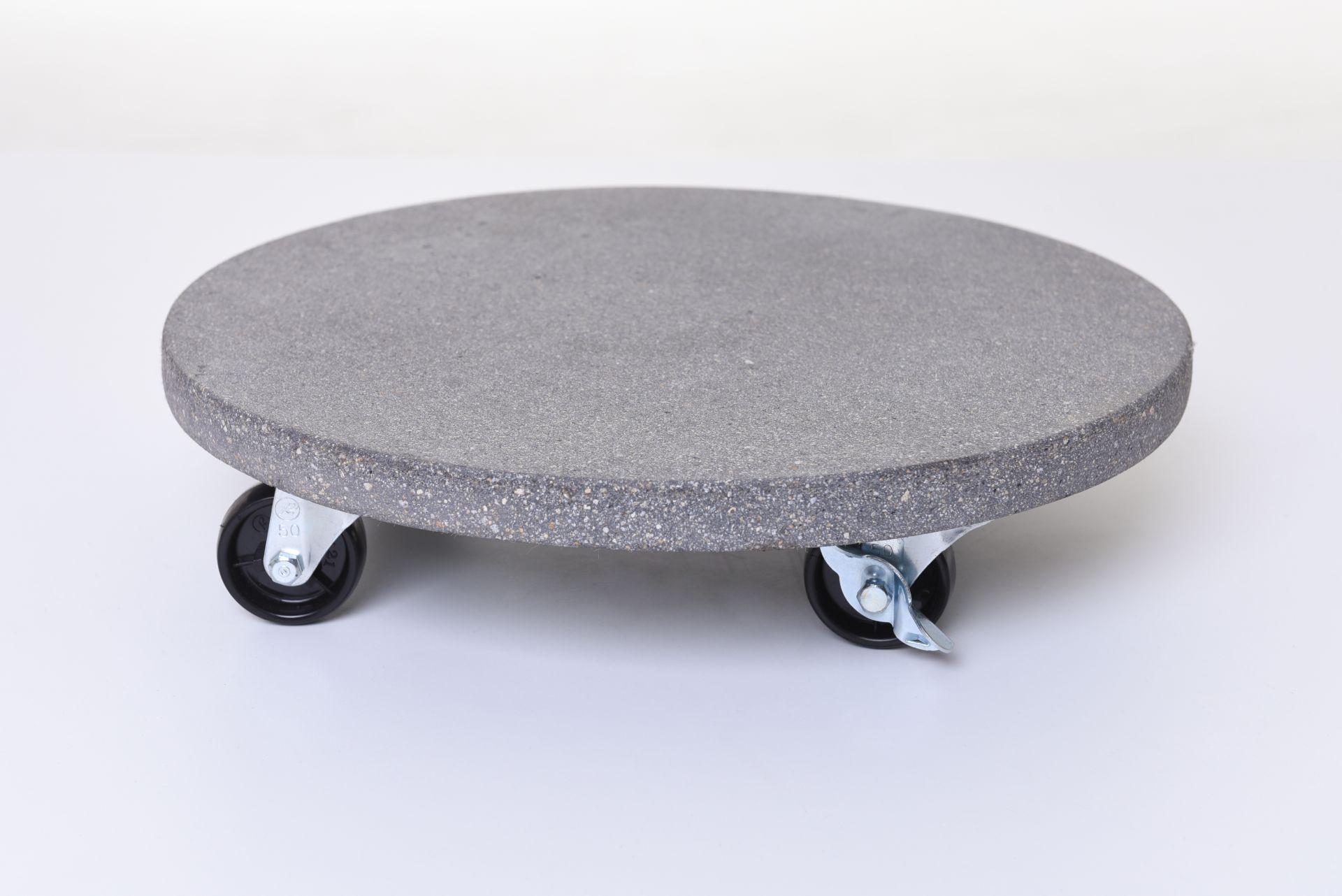 untersetzer mit rollen pflanzenroller rund kunststein movo 36 cm grau ebay. Black Bedroom Furniture Sets. Home Design Ideas