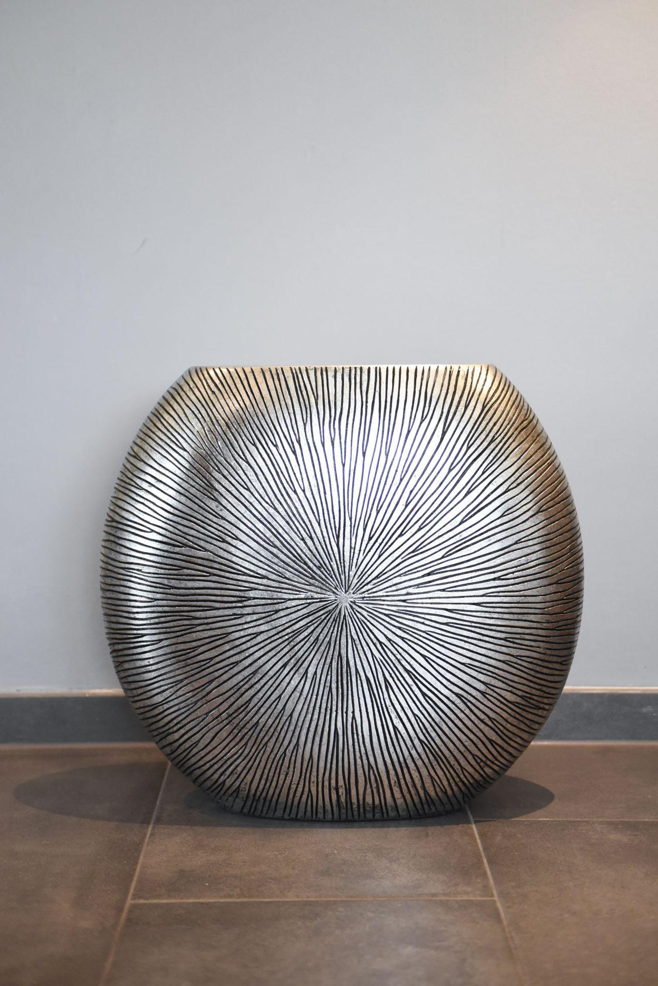 Vase Deko Bodenvase Fiberglas ATENA 50x55x18 cm, Silber