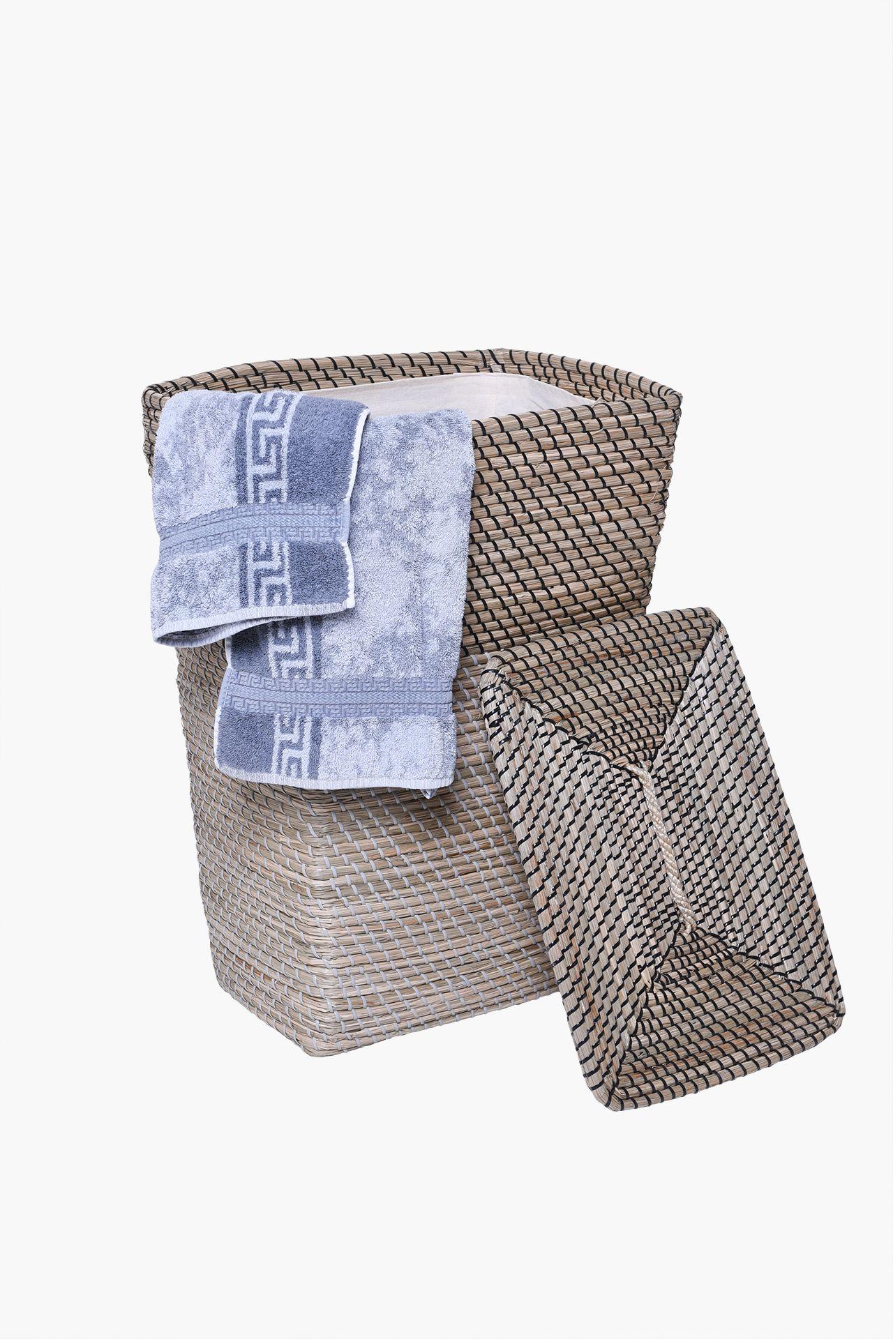 w schekorb w schebox w schesammler korb seegras home 52 cm hoch natur schwarz ebay. Black Bedroom Furniture Sets. Home Design Ideas