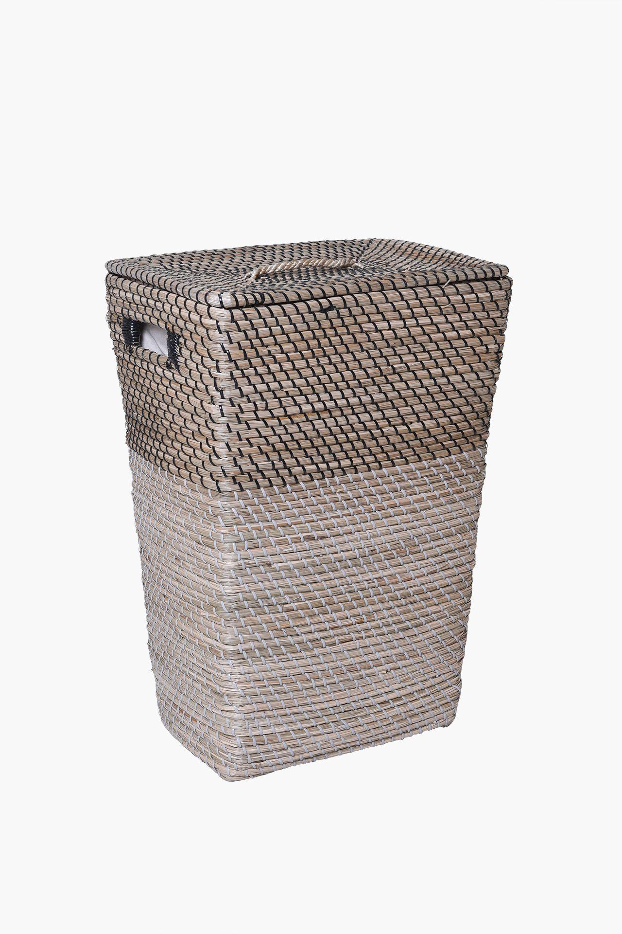 w schekorb w schebox w schesammler korb seegras home 60 cm hoch natur schwarz ebay. Black Bedroom Furniture Sets. Home Design Ideas