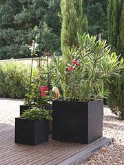 Blumenkübel Block in der Farbe anthrazit