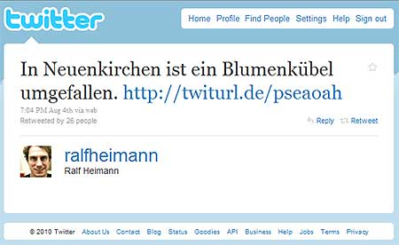 erste Meldung auf Twitter