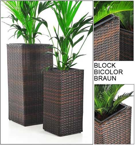 Blumenkübel Block bicolor braun