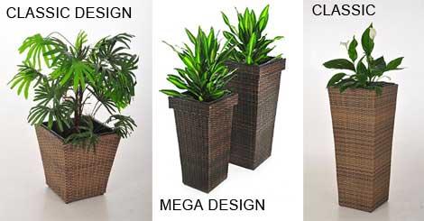 Blumenkübel aus Polyrattan, Classic, Mega, Classic hoch