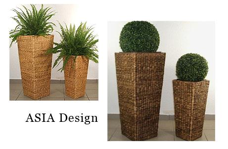 Pflanzkübel aus Wasserhyazinthe Asia-Design
