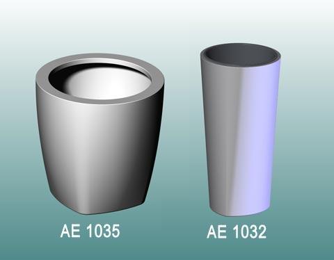 zwei Entwürfe für runde Blumenkübel: AE1035 und AE1032