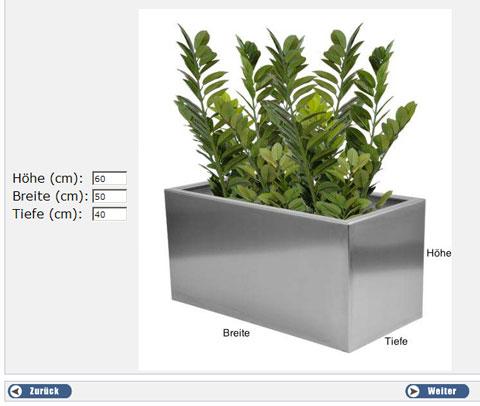 pflanzkübel-Konfiguration: Maße eingeben