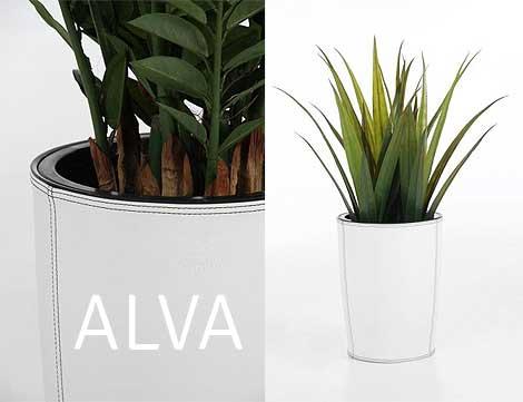 Blumenkübel ALVA mit Kunstlederbezug