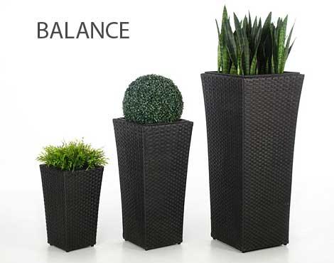 Blumenkuebel Balance Polyrattan schwarz