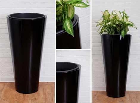 Blumenkübel aus Fiberglas, Hochglanz, schwarz