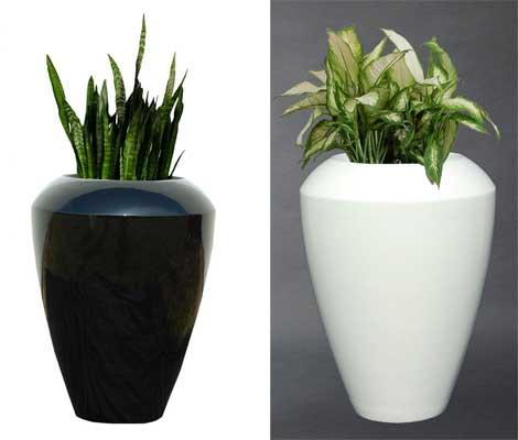 Blumenkübel Fiberglas, schwarz und weiss