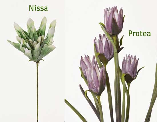 Kunstblumen Nissa und Protea