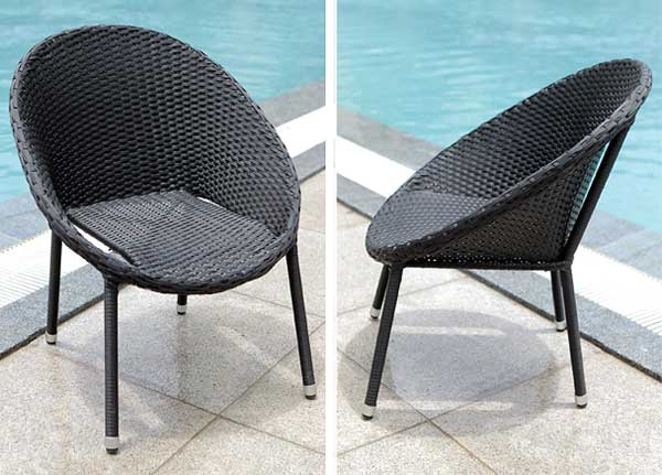 Polyrattan finest outdoor outside round resin wicker for Korbsessel schwarz