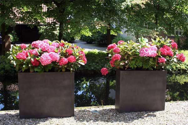 cooles design klassische pflanzk bel aus fiberzement. Black Bedroom Furniture Sets. Home Design Ideas