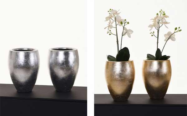 Blumentopf Demino, silber, gold