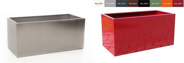 Pflanztrog Maxi aus Edelstahl und beschichtetem Stahlblech