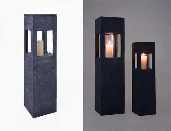 Windlichter aus Fiberglas in Steinoptik - 2er-Set