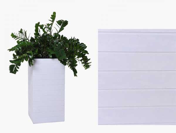 Pflanzkübel Block mit Rillen Sandstein Weiß