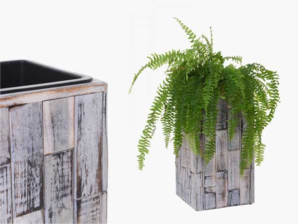 Pflanzkübel BLOCK aus Recyclingholz im Shabby Chick