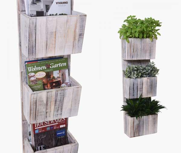 Cool: Sitzhocker im Beton-Look, Pflanzkübel und Regal im Shabby ...