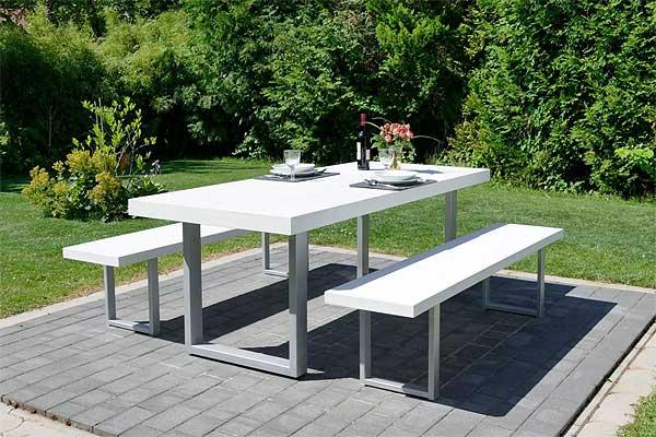 Urban 200 Gartenmöbel / Sitzgarnitur Sandstein, 200 cm breit, Weiß/Silber