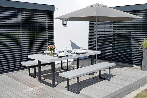 Urban 200 Gartenmöbel / Sitzgarnitur Sandstein, 200 cm breit, Grau/Schwarz