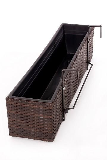 blumenkasten balkoni polyrattan 80cm bicolor braun. Black Bedroom Furniture Sets. Home Design Ideas