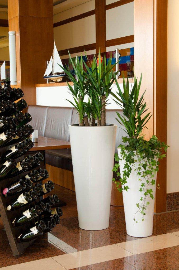 """Kombination des """"Rondo Classico"""" aus Fiberglas in Weiß Hochglanz vor der gemütlichen Bar mit Sitzmöglichkeit."""