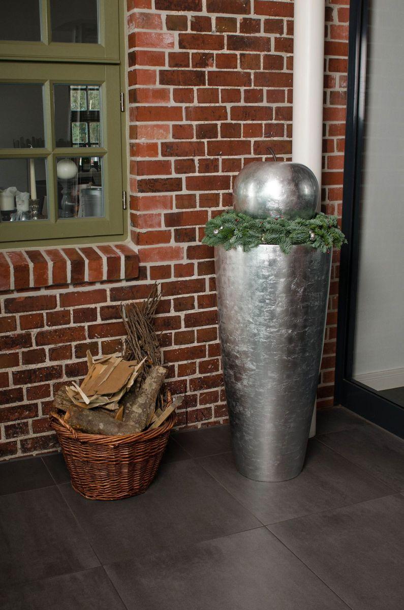Pflanzkübel City silber weihnachtlich Deko Obst