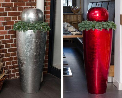 Pflanzkübel City mit Deko Obst Weihnachten